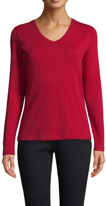 ST. JOHN'S BAY Long Sleeve V Neck T-Shirt-Womens