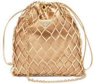 Prada Woven Metallic Leather And Satin Pouch - Womens - Gold