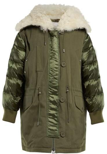 Ys Army - Contrast Panel Quilted Down Parka - Womens - Khaki