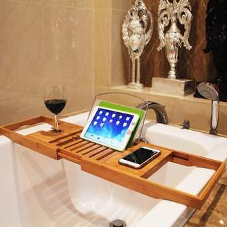 Moaere Collapsible Bamboo Bathtub Caddy Tray Removable Wooden Bath Rack Shower Table Wine Glass Holder Cellphone Slot