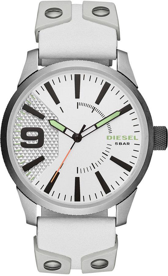 DieselDiesel Men's Rasp White Silicone & Leather Strap Watch 53mm DZ1828