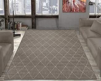 Ottomanson Jardin Collection Contemporary Trellis Design Indoor/Outdoor Jute Backing Area Synthetic Sisal Rug