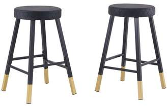 """Mainstays 24.02"""" Metal Dipped Leg Backless Counter Stools, Set of 2, Black and Gold"""