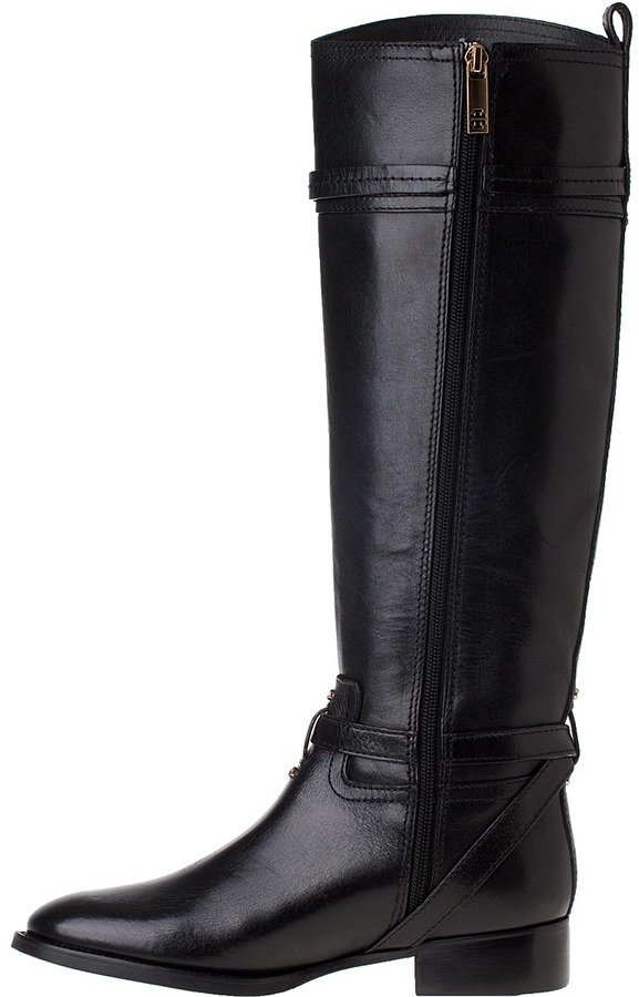 Tory Burch Calista Riding Boot Black Leather
