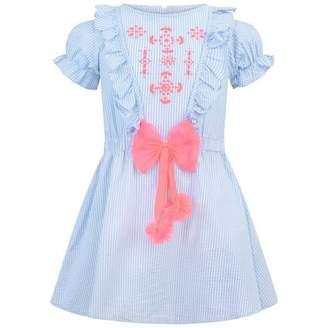 Billieblush BillieblushGirls Blue Striped Tulle Bow Dress