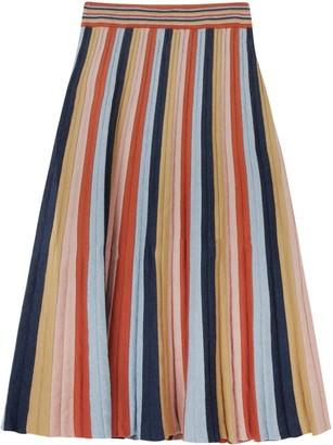 Studio Myr Boho Chic Knitted Maxi Skirt In Multi Colour Stripes Denim