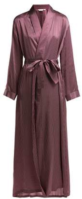 Derek Rose Brindisi Polka Dot Silk Satin Robe - Womens - Burgundy