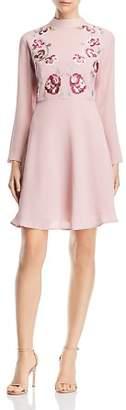 Nanette Lepore nanette Embroidered Mock-Neck Dress