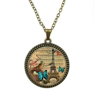 By Zoé Precious Stone Vintage Butterfly Paris Eiffel Design Silver Necklace for Valentine's Day STORE