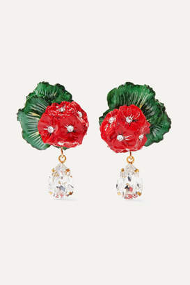 Dolce & Gabbana Portofino Crystal, Resin And Gold-tone Clip Earrings - Red