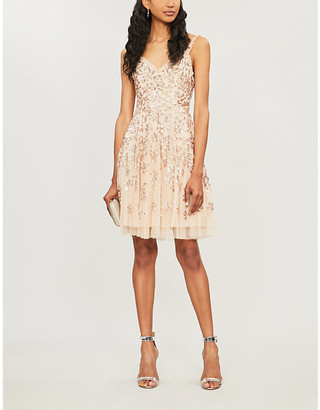 NEEDLE AND THREAD Valentina sequin-embellished chiffon dress