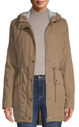 Big Chill Women's Sueded Hooded Anorak with Sherpa Jacket