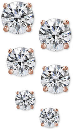 Giani Bernini 3-Pc. Cubic Zirconia Sterling Silver Stud Earrings in 18k Rose Gold-Plated, 18k Gold-Plated and Sterling Silver