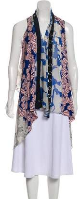 Diane von Furstenberg Serape Grommets Asymmetrical Floral Print Cardigan