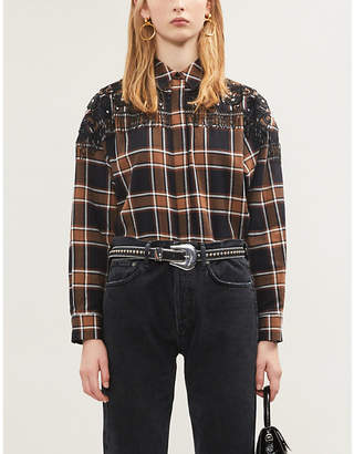 Sandro Checked embellished cotton-flannel shirt