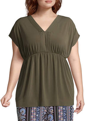 Liz Claiborne Extended Shoulder Babydoll Top- Plus