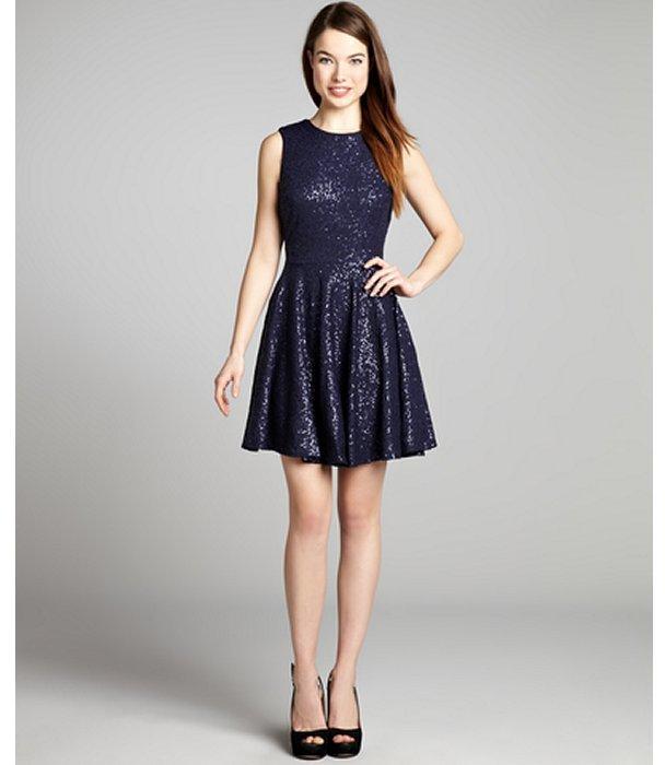 Cynthia Steffe navy blue sleeveless sequin 'Sabella' evening dress