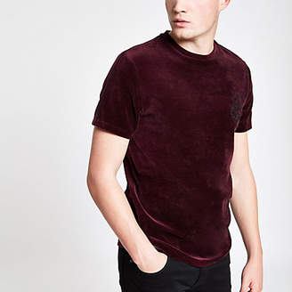River Island Red muscle fit 'R96' velour piped T-shirt