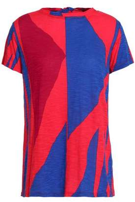 Proenza Schouler Tie-Back Color-Block Slub Cotton-Jersey T-Shirt
