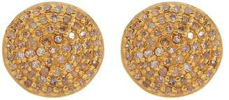ADORNIA Gold Vermeil White Diamond Pave Round Stud Earrings - 1.00 ctw
