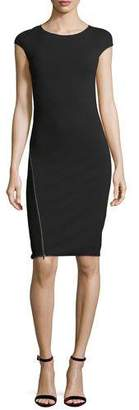 Emporio Armani Round-Neck Cap-Sleeve Fitted Midi Dress with Zipper Detail