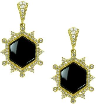 Judith Ripka 14K Clad Diamonique & Onyx Earrings