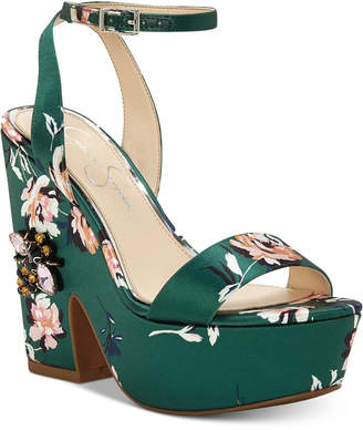 Jessica Simpson Carena Satin Sculpted Wedge Sandals Women's Shoes