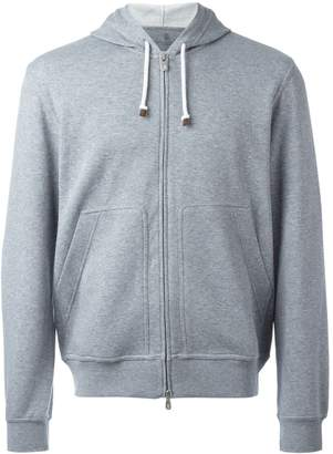 Brunello Cucinelli kangaroo pockets zipped hoodie