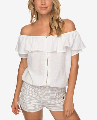 Roxy Juniors' Cotton Off-The-Shoulder Blouse