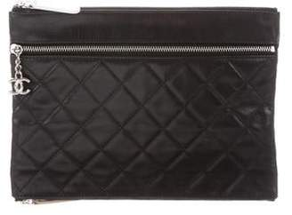ff25ee6ef1c3f1 Chanel Quilted Multi-Zip Pouch