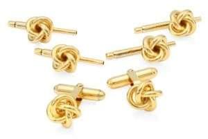 David Donahue Knot Goldtone Stud& Cufflink Set
