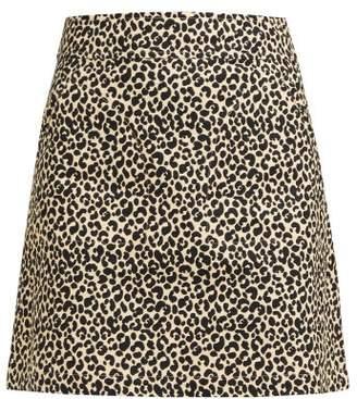 A.P.C. Shanya Leopard Print Mini Skirt - Womens - Leopard