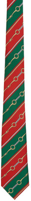Gucci Green and Red Silk Chain Tie