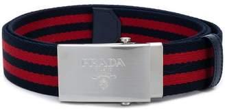 Prada striped web belt