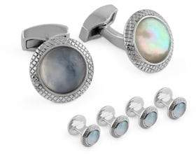 Tateossian Quartz Doublet Round White Mother-Of-Pearl Cufflinks and Shirt Studs Set