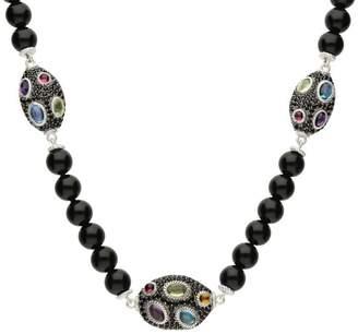 Judith Ripka Sterling Multi-Gemstone Station Bead Necklace