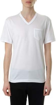 Dolce & Gabbana White Cotton V-neck T-shirt