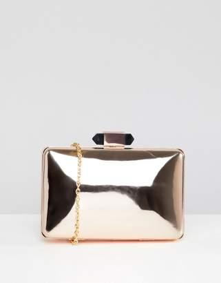 True Decadence Rose Gold Metallic Box Clutch Bag