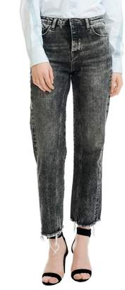 Maje Paola Distressed Raw Hem Jeans