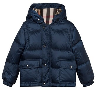 Burberry Ink Blue Hooded Puffer Coat with Detachable Sleeves $356 thestylecure.com