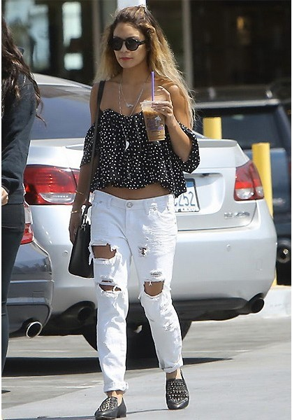 One Teaspoon Pure Trashed Freebirds in Pure as seen on Vanessa Hudgens