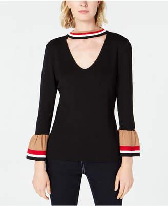 INC International Concepts I.n.c. Varsity-Stripe Choker Sweater