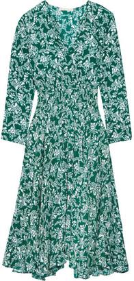 Maje Rayelle Shirred Floral-print Crepe Dress