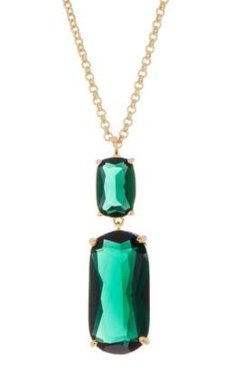 Rivka Friedman Faceted Emerald Crystal Double Drop Pendant Necklace