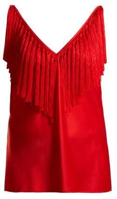 Diane Von Furstenberg - Deep V Neck Fringed Top - Womens - Red