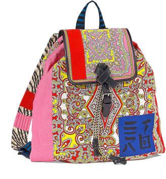 Etro Multi-Brocade Drawstring Backpack
