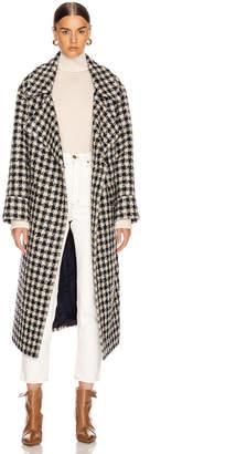 Smythe Blanket Coat in Navy & Black Check   FWRD