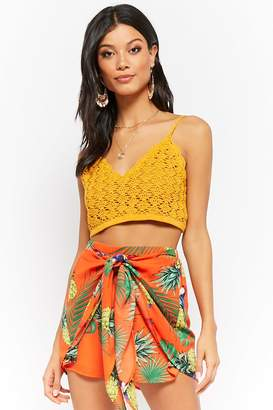 Forever 21 Tie-Front Tropical Print Shorts