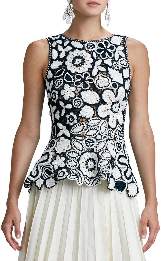 Carole Hochman DESIGN GROUP Hand-Crocheted Floral Peplum Blouse