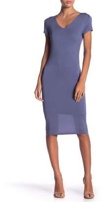 LIME BLUE V-Neck Midi Dress